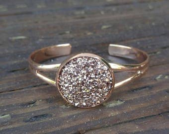 Rose Gold Druzy Bracelet with choices of rose gold, black and white druzy stone