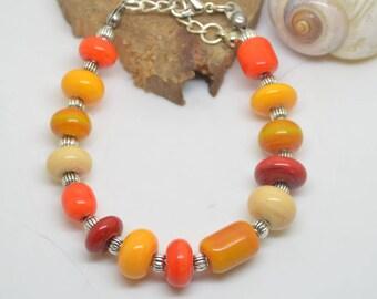 Warm colored Lampwork Glass Beads Bracelet