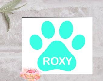 Paw Print Decal, Yeti Decal, Custom Paw Print Decal, Dog Name Decal