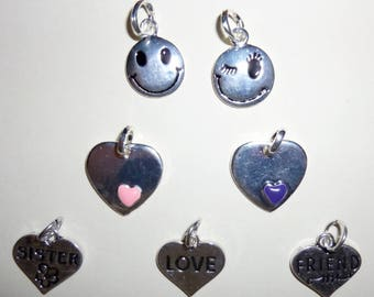 set of 7 metal charms