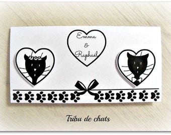 Make wedding announcement rectangular simple and elegant tribe of cats, cat heads in hearts