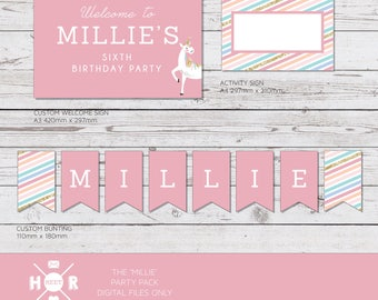 Printable - The 'Millie' Unicorn Birthday Party Pack | Pony Decorations | Custom Bunting | Cupcake Toppers | Labels | Wrappers