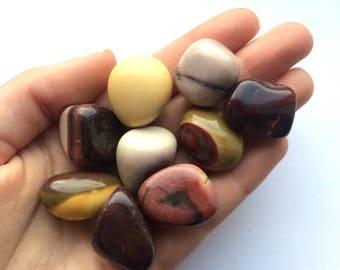 Mookaite red and yellow tumbled stone medium 25mm