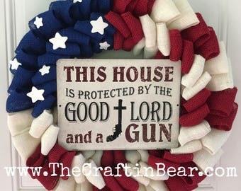 American flag burlap wreath - Patriotic wreath - Stars and Stripes - 4th of July wreath - American wreath - gun decor - Americana