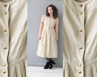 Loden dress, Vintage Dirndl dress, Alpen dress, Linen dress, Bavarian dress, Austrian dress, German Folk dress, Oktoberfest dress / Medium