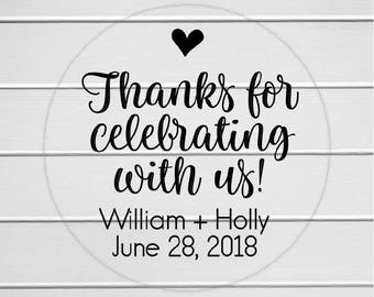 Thanks for Celebrating with us Stickers, Wedding Favor Labels, Wedding Favor Stickers (#194-C)