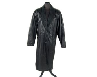 Vintage 1980s Global Identity Long Black Leather Coat / Duster with Embossed Suede Trim (Size Medium)