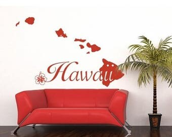 20% OFF Summer Sale Hawaii Islands wall decal, sticker, mural, vinyl wall art