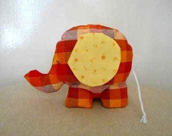 ELEPHANT, orange, and yellow printed cotton fabric