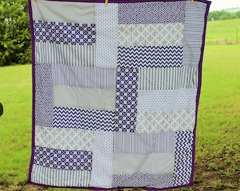 Purple Quilt, Baby Blanket, Baby Girl Quilt, Patchwork Quilt, Purple, White and Grey Baby Blanket, Baby Shower Gift, Baby Quilt, It's a Girl
