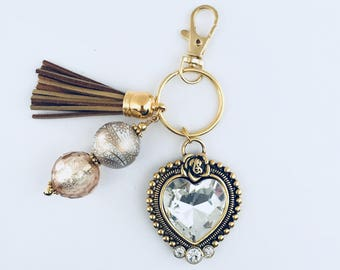 Heart Key Chain/Gold Faceted Glass Heart/Victorian Heart Key Chain/Vintage Heart Key Chain