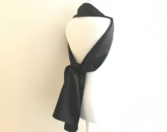 thin black satin stole 200/30 cm stole wedding/party/christening/cocktail/party season / Christmas
