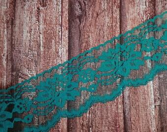 "Turquoise Teal Lace Polyester Raschel Flat Lace Trim 3"" hatmaking sewing quiltmaking cardmaking cake making"