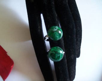 dark green cabochon Adjustable ring