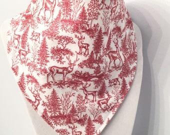 Winter Forest - Christmas - bandana style -organic cotton bib
