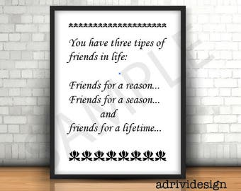 Friends for a lifetime, Inspirational quote, wall art, best friends,  BFF, gift,  for him, for her,  favorite quote, wall decor, valentine