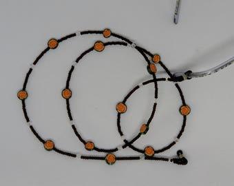 "Glasses chain ""Rose"" in orange or red"
