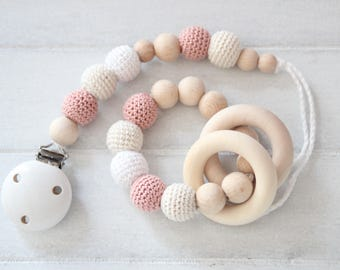 First baby gift set - pacifier clip with teething bracelet - girl gift set
