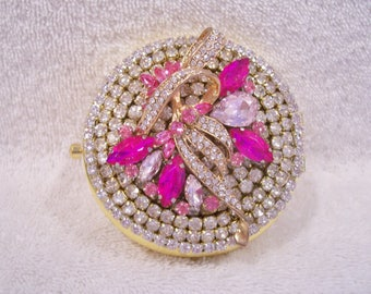 Rhinestone Compact Mirror, Jeweled Compact Mirror.  Bridesmaid Gift, Shower Gift, Mothers Day Gift, Valentine Gift.