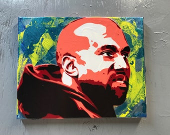 Kanye West Painting on Stretched Canvas - pre made and ready to ship - pictures show actual item you are purchasing.