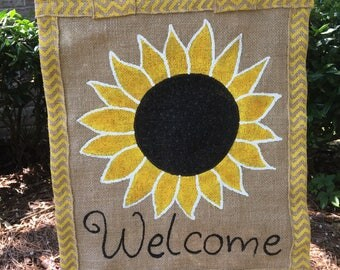 Sunflower burlap Garden flag
