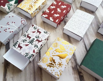 Assorted Holiday patterns matchbox size boxes/ Slide box/ Jewelry Packaging / Gift box / Party favor / Cranberry Christmas / Set of 12