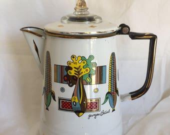 Georges Buard 1960's Enamel Retro Coffee Pot