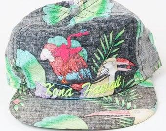 Vtg 1980s 1990s Kona Hawaii Adjustable Hat, Hawaiian Flamingo