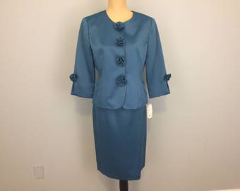 Womens Suits Jackie Kennedy 60s Style Skirt Suit Satin Mother of Bride Dressy Collarless Rosettes Teal Blue Size 10 Medium Womens Clothing