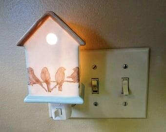 Night Light Plug In Birdhouse Porcelain Ceramic Lighting Home Decor blm