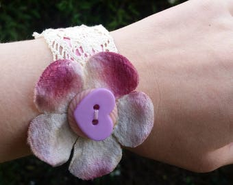 Pink Flower and Lace Wrist Accessory