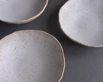 Speckled white handmade bowl, natural minimal nordic rustic monochrome stoneware, soup breakfast bowl
