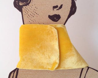 Neck yellow. Silk velvet. Dyed by hand Handmade and designed by enSeda. Thanksgiving Day. Christmas special. Winter wedding