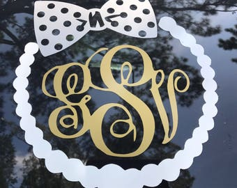 Custom monogram pearl neckalce and bow decal
