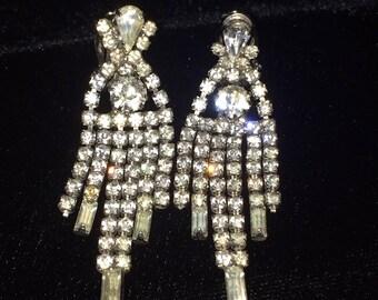 Charming Vintage Rhinestone Earrings 1950's or 1960's