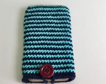 Crocheted phone pouch,  crochet blue iPhone 6plus sleeve, crochet glasses pouch, cotton crocheted pouch, crocheted phone case.