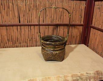 Vintage Japanese Ikebana Flower Arrangement Bamboo Basket