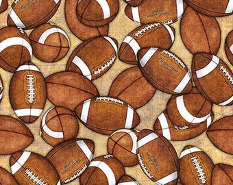 Footballs on Tan Cotton Woven by Quilting Treasures