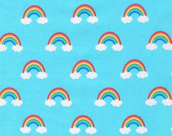 Happy Little Unicorns, Rainbows and Clouds Cotton Woven by Robert Kaufman