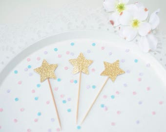 Twinkle Twinkle Little Star Cupcake toppers - Star cupcake toppers for twinkle twinkle little star theme - birthday party - baby shower