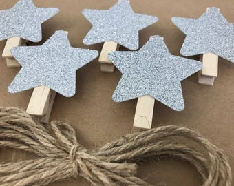 Silver Christmas Card Holder Clothes Pins Banner, Christmas Card Display Garland, Card Hanger Star Clips