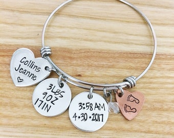 Personalized Baby Stats Bracelet - Hand Stamped Jewelry - Baby Name Bracelet - Gift for New Mom - Baby Shower Gift - Baby Date Jewelry