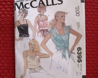 Vintage McCalls Pattern 6395 Misses Camisoles and Cover-up