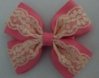 Hot Pink Tuxedo Hair Bow, Tuxedo Lace Hair Bow