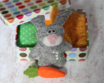 Rabbit Bunny Plush in Miniature Tin Box, Pocket Worry Doll, Travel Toy, Quiet Time Play, Unique Gift Idea for Preschooler, Baby Shower