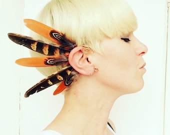 No 8. Feather ear cuff - copper, natural colors