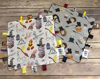HARRY POTTER inspired Sensory Soother! SPD. Ribbon Soother. Lovey. Ribbon Tags. Minky. Teether. Chew Toy. Sensory Tool. Various Fabrics.