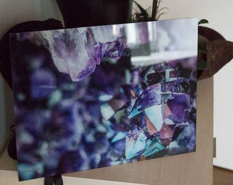 Photo of amethyst on glass acrylic painting