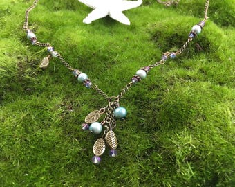 Woodland Style Fantasy Antique Copper Handmade Necklace with Blue Pearls and Crystals, Accented with Copper leaves