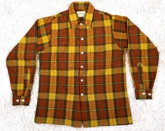 1960s 70s Red Yellow Check Plaid Long Sleeve Shirt, Vintage Puritan Aquawool, Mens Lumberjack Flannel Shirt, 60s Workwear Made in USA